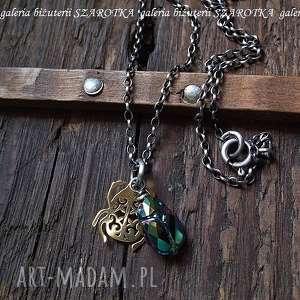 naszyjniki zielony skarabeusz naszyjnik z kryształu swarovski i srebra