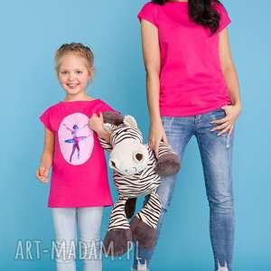 KOMPLET DLA MAMY I CÓRKI, bluzka letnia z aplikacją lub gładka, różowy,