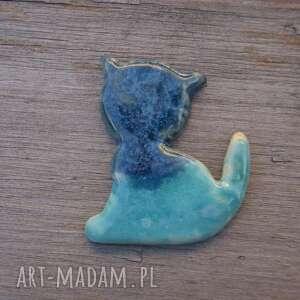 magnesy ceramiczny magnes kot turkusowy z niebieską głową, kot, magnes, prezent
