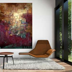 obraz do salonu z rzeżbą, obrazy salonu, nowoczesne, abstrakcyjne