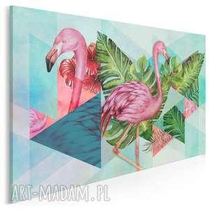 obraz na płótnie - flamingi egzotyczny liście 120x80 cm 94001, flaming