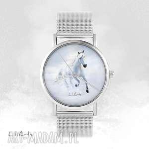 ręcznie wykonane zegarki zegarek, bransoletka - biały koń biegnący - metalowy