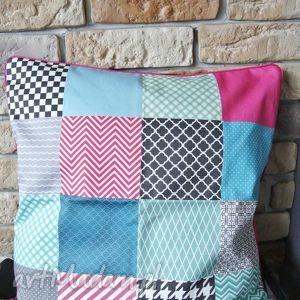 poszewka dekoracyjna wzór patchwork, poduszka, poszewka, kwadrat
