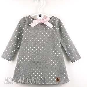 ręcznie robione ubranka sukienka kropki z kokarda