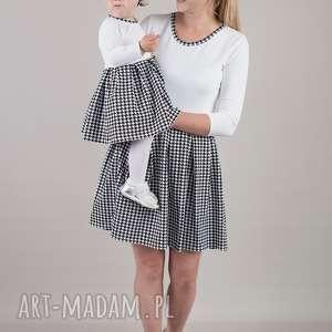 sukienki komplet sukienek w pepitke dla mamy i córki, pepitka, dresówka