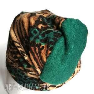 czapka damska bawełna dzianina etno wiosna sport ciepła, kolorowa