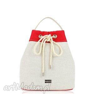 torebka taszka simple 814 - taszka, len, worek, rękodzieło, czerwona