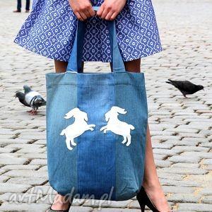 dżinsowa torba z koziołkami, torba, ekologiczna, denim, jeans