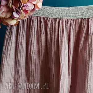 spódnice muślinowa spódnica pink lady, pudrowa spódnica, różowa spódniczka