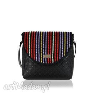torebka puro 881 stripes, paski, kolorowa, pikowana, czarna, rękodzieło