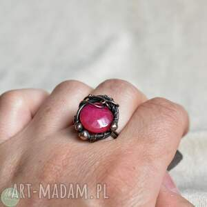 malinowy - pierścionek miedziany, z miedzi, miedziany