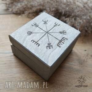 Ręcznie malowane drewniane pudełko Vegvisir - srebrne, pudełko, szkatułka, runy