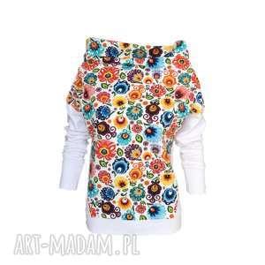 Folkowa bluza biała lub ecru, motyw-łowicki, bluza-folkowa, motyw-folkowy, folk