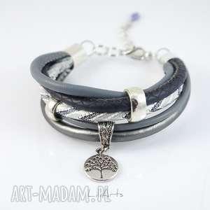 bransoletka - drzewo życia szara, bransoletka, ręcznie, robiona, drzewko, rzemienie