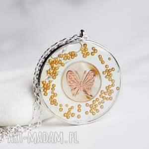 niezwykły naszyjnik z motylem, biżuteria ze srebra i żywicy, srebro, srebrne