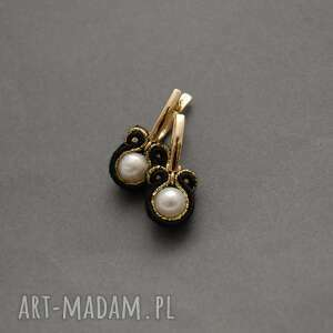kolczyki sutasz z perłami, sznurek, eleganckie, wieczorowe, perełka, delikatne