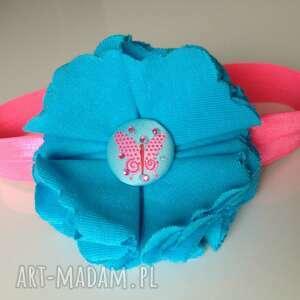 dla dziecka opaska niemowlęca - turkusowy motyl, prezent, roczek, sesja, ozdoba