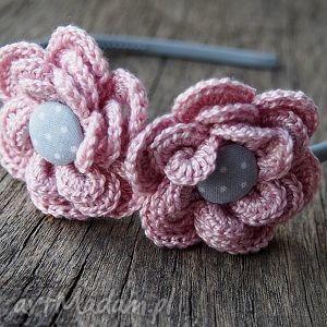 handmade ozdoby do włosów opaska do włosów szydełkowe kwiatuszki