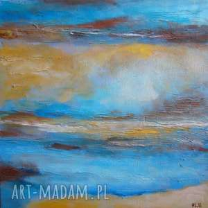 Obraz na płótnie - ABSTRAKCJA W BRĄZACH I TURKUSACH 30/30 cm, abstrakcja, turkus
