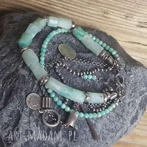 ręcznie wykonane bransoletka srebrna z amazonitem
