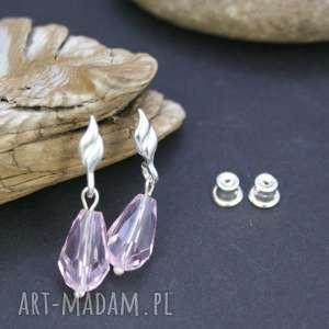 kolczyki kryształ w srebrze, kolczyki, srebrne, kryształki, fasetowane, kropla