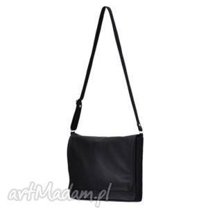 ręcznie zrobione teczki 35-0002 czarna torebka aktówka damska do szkoły i na studia robin