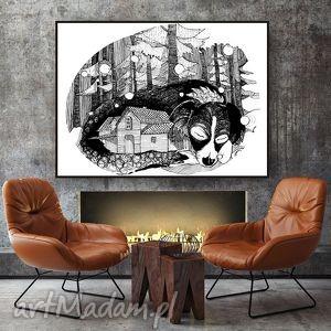 ZIMOWY WIECZÓR... ART PRINT A4, grafika, wudruk, rysunek, pies, dom, a4