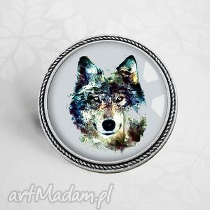 WILK :: niespotykana broszka z garfiką w szkle, wilk, wilkiem, zwierzęta, szary