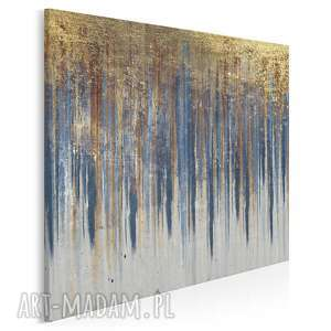 obraz na płótnie - wzÓr niebieski zŁoty w kwadracie 80x80 cm 90402, abstrakcja