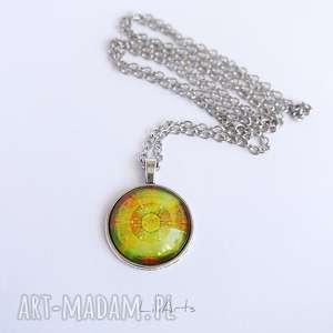 medalion, naszyjnik - mandala dobrego nastroju prosta, 2,5 cm, naszyjnik, medalion