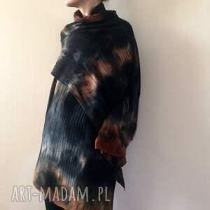 unikatowy szal wełniany, szal, wełniany, ręcznie barwiony, ciepły, unisex