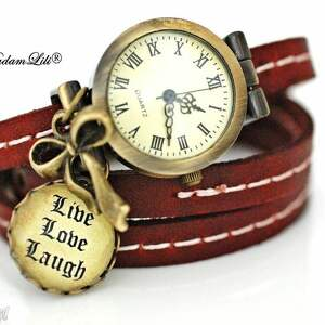 Zegarek Love, luck, Laugh(skóra), zegarek, miłość, scczęście, skóra