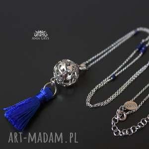 anna grys boho blue naszyjnik, boho, lapislazuli, kulka, srebrny