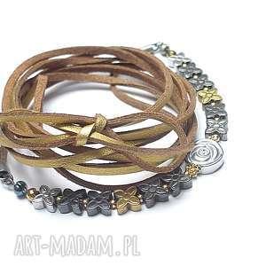 Choker 2 w 1 /silver-gold/ - naszyjnik, srebro, pozłacane, hematyty, rzemień, choker
