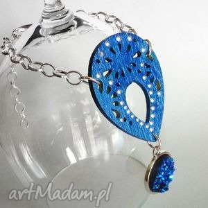 bransoletka - ocean druzy, druza, agat, niebieska, drewniana, oryginalan