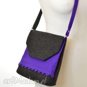 ręczne wykonanie na ramię filcowa torebka z falbanką - 2 kolory grafit