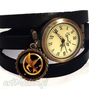 Kosogłos - Zegarek / bransoletka na skórzanym pasku, kosogłos, igrzyska, śmierci