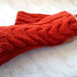 ręcznie wykonane rękawiczki rude mitenki na jesień - wełniane rekawiczki bez