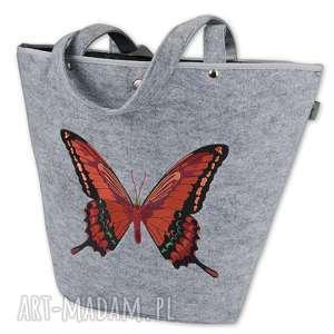 Filcowa torebka - koszyk szary PAŹ (rudy), torebka, filcowa, koszyk, motyl, haft