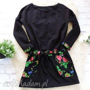 sukienki dresowa czarna sukienka folkowa folk kwiaty, sukienka, folk