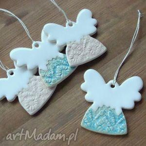ceramika ceramiczne aniołki, zawieszki, świąteczne, choinkowe, aniołki
