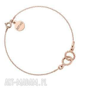 bransoletka z dwoma karmami różowego złota, kółeczka, kółka, delikatna