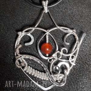 unikalny, wisiorki serce wire wrapping, serce, miłość, prezent, srebro, wire