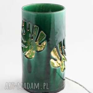 lampa ceramiczna monstera led, handmade, oświetlenie