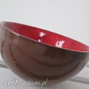 ceramika brązowa z czerwienią, miska, ceramiczna, miseczka, na, przekąski, czerwona