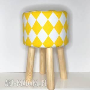 pufa żółty arlekin 2 - 45 cm, puf, taboret, hocker, vintage, stołek, ryczka