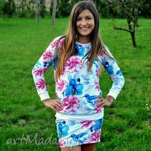bluzy bluza damska koliber, bluza, kwiaty, eko, dzianina, jersey ubrania