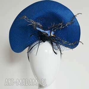święta, ozdoby do włosów zimowy ptak, fascynator, kobalt, niebieski, srebrny