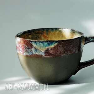 ceramika kubek pot-pourrie - brazowo-niebiesko-bordowy, duży kubek, wyjątkowy