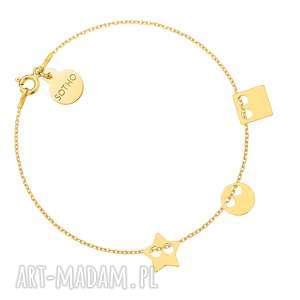 ręcznie wykonane bransoletki złota bransoletka z trzema zawieszkami